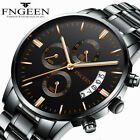 FNGEEN Men Fashion Military Stainless Steel Analog Date Sport Quartz Wrist Watch image