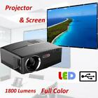 LED Projector Full Color 1080P 2300Lums USB/VGA/HDMI/AV Home Theater &Screen