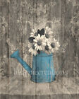 Rustic Brown Blue Farmhouse Floral Wall Art Home Decor Matted Picture