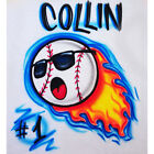 Screaming Baseball with Flames Airbrush Shirt - Name & Number Included
