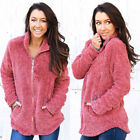 Womens Winter Fluffy Coat Fleece Fur Warm Jacket Overcoat Zip Up Outerwear Tops