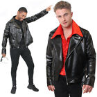 ADULTS BLACK LEATHER JACKET 1980S BIKER ROCKER GREASE T-BIRDS FILM FANCY DRESS