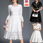 Women Vintage Floral White Lace Wedding Swing Dress Cocktail Evening Party Skirt