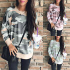 Fashion Women Camouflage Casual T Shirt Ladies Autumn Long Sleeve Top Blouse W1