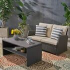 Zora Outdoor Wicker Loveseat with Coffee Table