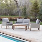 Walker Edison Eucalyptus and Rattan 4 Piece Deep Seating Patio Chat Set