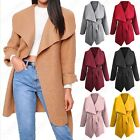 NEW WOMENS WATERFALL BORG COAT LADIES SHEARLING TEDDY BELTED FRONT DRAPE JACKET