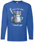 I Don't Get Older I Level Up Cat Herren Langarm T-Shirt Katze Katzen Fun Nerd