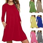 Women's Solid Long Sleeve Pocket Casual Maxi Dresses Loose T-Shirt Dress {p18}