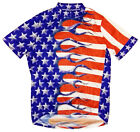 Primal Wear Team USA Flag Flames Cycling Jersey Mens Short Sleeve with Socks