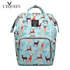 LEQUEEN Double D Rings Diaper Bag Large Portable Mummy Nappy Bag Travel Backpack