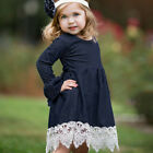 Toddler Baby Girls Denim Flare Sleeves Lace Spliced Princess Party Dress Clothes