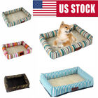 US Puppy Cat Pet Bed  Striped Cushion Soft Warm Kennel Mat for Small Medium Dogs