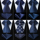 9 Style Navy Blue Necktie Mens Silk Ties Handkerchief Set Plaid Paisley Wedding $6.99 USD on eBay