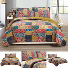 Harvest Printed 100% Microfiber Multi Color 3 Piece Reversible Quilt Set image