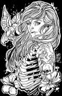Birdcage by Kris Chisholm Skeleton Zombie Woman Tattoo Artwork Canvas Art Print