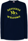 REFUGEES WELCOME Kinder Langarm T-Shirt Demo Left Asyl Wing Party Flüchtlinge