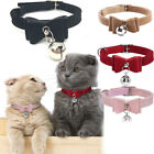 Small Pet Dog Cat Collar Leather Bow Tie With Bell Puppy Kitten Necktie Collar