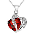 New Fashion Women Pendant Jewelry Crystal Heart Colour Silver Necklace Chain UK <br/> ✅UK SELLER✅SAME DAY DISPATCH✅5 COLOURS✅PERFECT GIFT