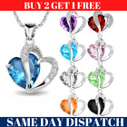 New Fashion Women Pendant Jewelry Crystal Heart Colour Silver Necklace Chain Uk