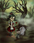 Zombie Graveyard by Diana Levin Goth Girl Haunted Forest Framed Wall Art Print