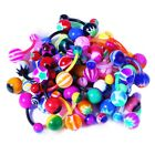 BodyJ4You 15-100PC Belly Button Rings Banana Barbells 14G Steel Flexible Bar Mix image