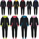 Kids Girls Boys Fleece Contrast A2Z Onesie One Piece All In One Jumpsuit 2-13 Yr