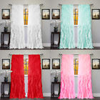 2pc Cascade Shabby Chic Sheer Ruffled Curtain Panel