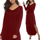 Long Sleeved Loose Plain Casual Maxi Split Swing T Shirt Tunic Pockets Dress W