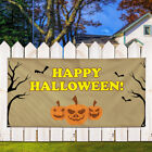 Vinyl Banner Sign Happy Halloween #2 Pumpkins Marketing Advertising White/Brown $701.21 USD on eBay