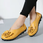 Women Comfort Leather Casual Shoes Flat Heel Loafers Flower Ladies Low Top Shoes