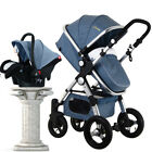 Foldable Luxury 3 in 1 Baby Stroller Pushchair with Baby Car Seat Three Colors