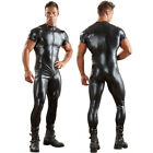 Men's Wetlook Leather Zipper Bodysuit Jumpsuit Singlet Lingerie Latex Underwear