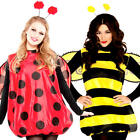 Bug Ladies Fancy Dress Ladybird Ladybug Bumble Bee Insect Animal Adults Costumes
