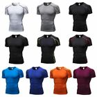 Mens Compression Short Sleeve Sports T-shirt Quick Dry Base Layer Gym Workout US image