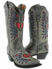 Womens Heart Wings Cowboy Boots Genuine Leather Snip Toe Rodeo Dress Gray
