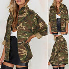 US Women Vintage Military Camo Padded Bomber Jacket Camouflage Coat Outwear NEW