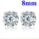 WOMEN MEN GENUINE 925 SOLID STERLING SILVER CUBIC ZIRCONIA ROUND STUD EARRINGS