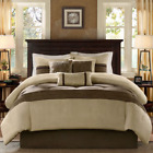 Cal King Bed Brown Taupe Microsuede Earth Tones 7 pc Comforter Set Bedding image