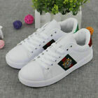 New Women's White Running Flat Shoes Leather Embroidered Sneakers