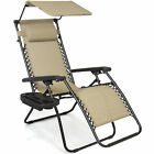 BCP Folding Zero Gravity Recliner Love-seat Chair w/ Canopy, Cup Holder
