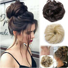 100% Natural Curly Messy Bun Hair Piece Scrunchie Hair Extensions as Human Grey