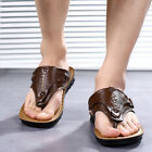 Mens Slippers Casual Flat Sandals Sports Leather Shoes Beach Summer Waterproof