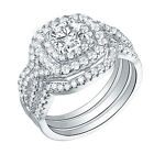 3pcs Engagement Wedding Ring Set Double Halo 925 Sterling Silver Round Cz 5-12