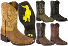 Mens Rodeo Cowboy Boots Genuine Leather Work Western Square Toe Botas
