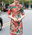 New fashion bead hot drilling leopard rose Printed jacquard short sleeve dress
