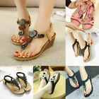 Women's Flats Sandals Thong Beach Bohemia Shoes Slippers Summer Clip Toe T-Strap