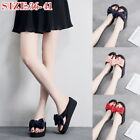 Womens Ladies Bow Flatform Slip On Sandals Flat Platform Slippers Shoes Size