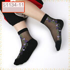 Women Short Sock Transparent Ultrathin Elastic Crystal Silk Rose Bear Lace Ankle