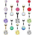BodyJ4You Belly Button Ring CZ Crystal Disco Ball Created-Opal 14G Navel Barbell image